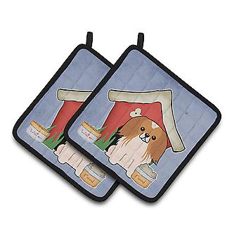 Dog House Collection Pekingnese Red White Pair of Pot Holders