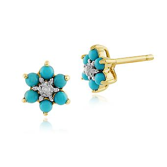 Floral Round Turquoise & Diamond Stud Earrings in 9ct Yellow Gold 181E0019429