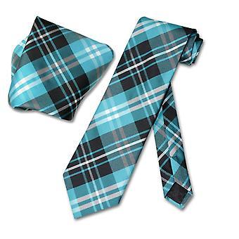 Cravate carreaux Vesuvio Napoli & mouchoir cou cravate ensemble