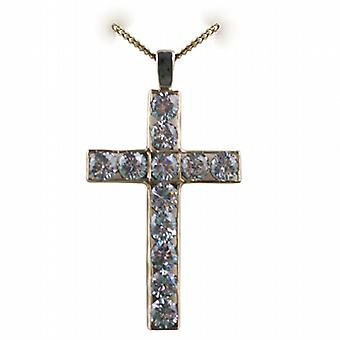 9ct Gold 45x29mm Apostle's Cross set with 12 Cubic Zirconia with a curb Chain 24 inches