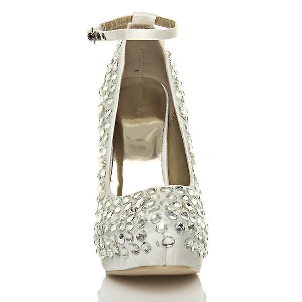 Ajvani dame bryllup platform perler højhælede damer brude aften prom ankel rem Domstolen sko pumper