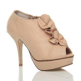 Ajvani womens high heel ruffle peep toe ankle shoe boots booties sandals
