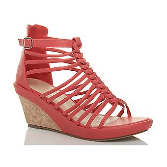 Ajvani dame strappy gladiator platform peep toe højhælede kile sandaler