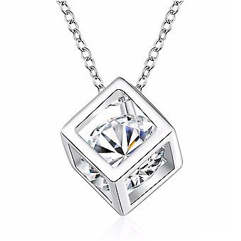 Womens Silver Cube Necklace With Crystal Stone Uniquen BG1073-A