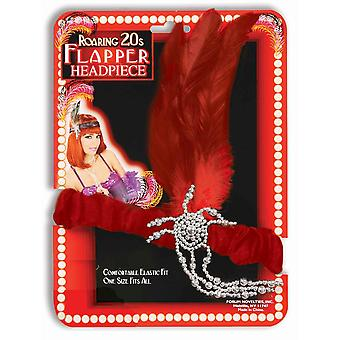 Charleston Flapper 20s Red Feather Womens Costume Headband Headpiece