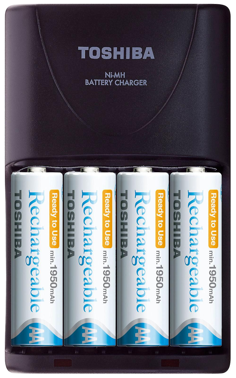 TOSHIBA Charger AA/AAA-type batteries + 4 AA Rechargeable Batteries min. 1950mAh