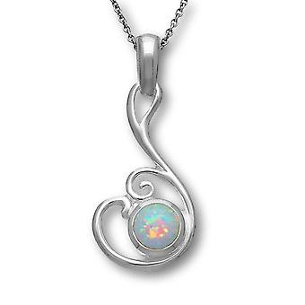 Sterling Silver Scottish Flourish Hand Crafted Necklace Pendant - White Opal Stone - SP293