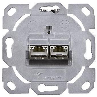 Verkkopistoke Flush mount lisää CAT 6A 2 porttia Telegärtner