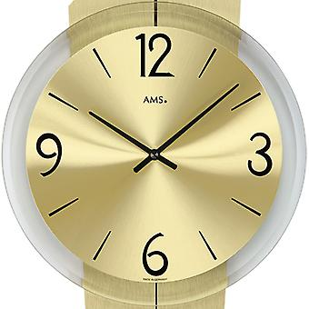 Wall clock quartz clock brass pads ALU-dial glass 44 x 23 cm AMS