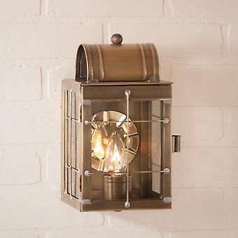 Irvin's Country Tinware Small Wall Lantern in Weathered Brass