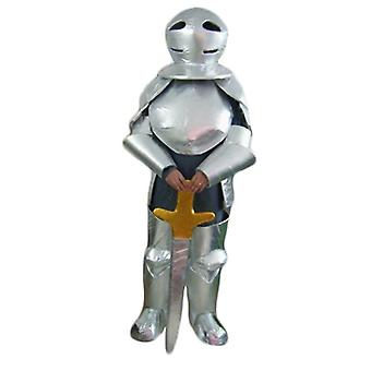 SPOTSOUND Knight mascot, with silver armour and a sword