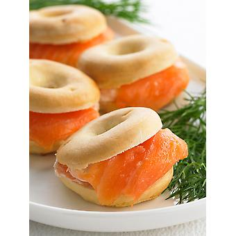Frank Dale Frozen Mini Salmon & Cream Cheese Bagels 4cm dia