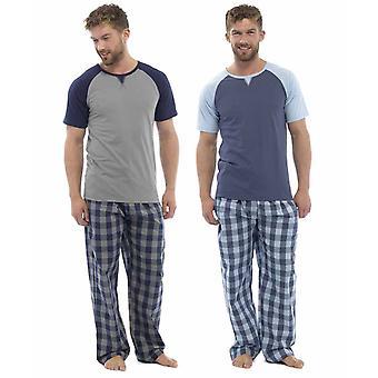 Wolf & Harte Mens Cotton Short Sleeve Pyjamas (Pack of 2)