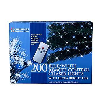 Joulu Workshop 200 kauko-ohjaus LED Chaser valot, sininen/valkoinen