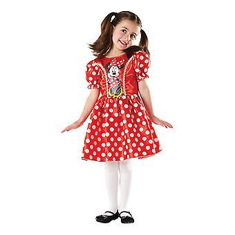 Röd klänning Minnie mus kostym för barn Disney Minni