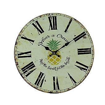 复古白色热带菠萝穿皇冠挂钟