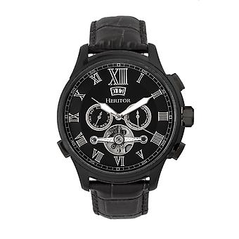 Heritor Automatic Hudson Semi-Skeleton Leather-Band Watch w/Day/Date - Black