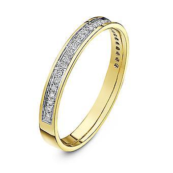 Star Wedding Rings 18ct Yellow Gold Round 0.15 Carat Diamond Eternity 3mm Wedding Ring