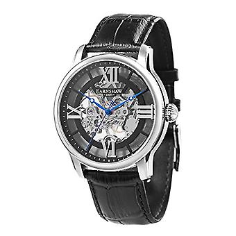 Thomas Earnhshaw Longitude ES-8062-01 mechanical wrist watch black skeleton dial and black leather band