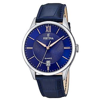 Festina | Mens Stainless Steel | Blue/Rose Dial | BlueLeather | F20426/5 Watch