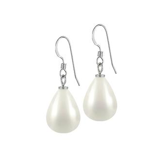 Eternal Collection Raindrop Maxi White Shell Pearl Silver Tone Drop Pierced Earrings