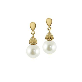 Eternal Collection Solitaire White Pearl Gold Tone Drop Clip On Earrings