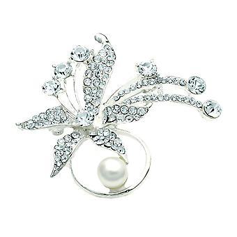 Krystal, sølv tone og fløde mock perle blomst broche