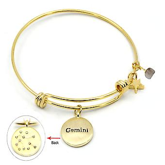 Eternal Collection Gemini Agate And Cubic Zirconia Gold Tone Adjustable Zodiac Bangle