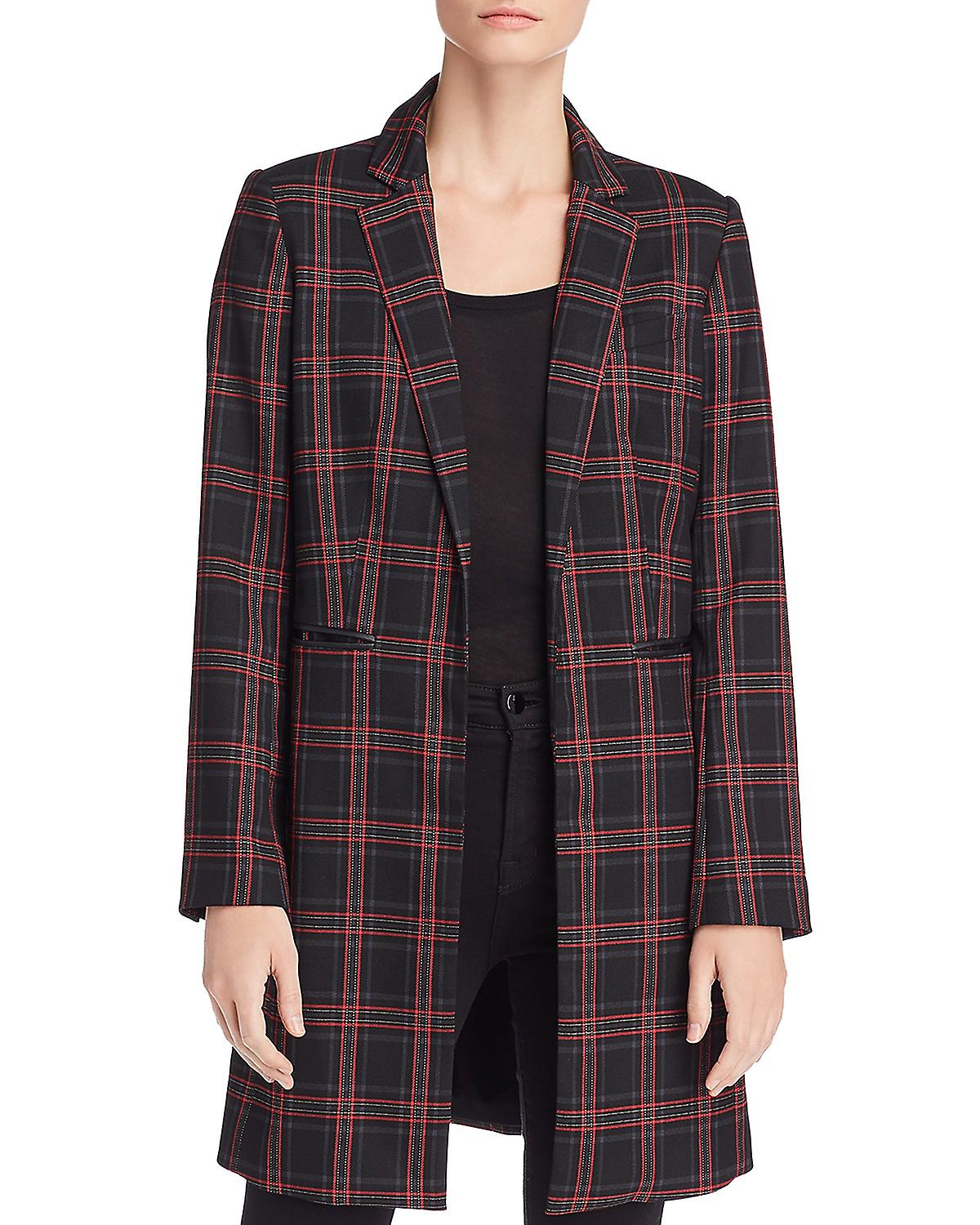 Kenneth Cole Plaid Longline Blazer Road Plaid
