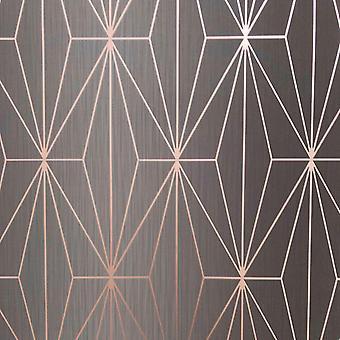 Houtskool Rose goud metallic geometrische wallpaper driehoeken vinyl Muriva Kayla