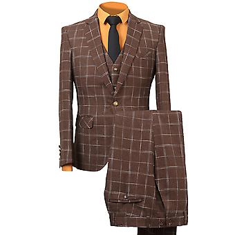 Allthemen barbati 3pcs Silm se potrivesc carouri 3 piese costum (Blazer & vesta & pantaloni)