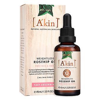 A'kinS Less Rosehip Oil Natural Australian Hair Face & Cuidado de la piel del cuerpo 45ml