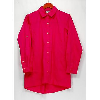 Joan Rivers Classics Collection Top XXS Classic Pleated Boyfriend Pink A263874