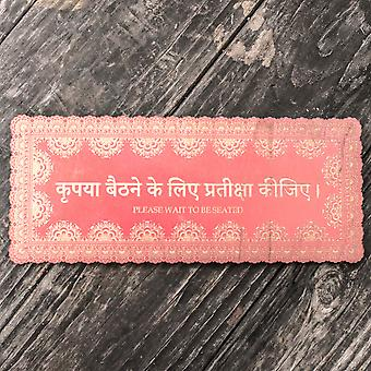 Red - please wait to be seated - hindi - plaque 11x5in