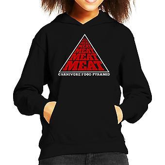 Carnivore Food Pyramid Kid's Hooded Sweatshirt