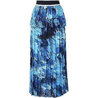 Victoria Beckham Graphic Print Mixed Pleat Skirt