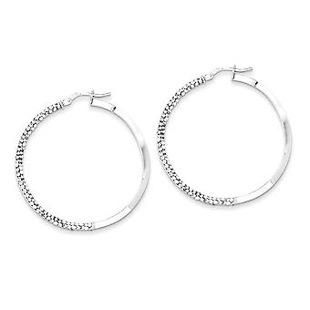 925 Sterling Silver Polished Hinged post Stellux Crystal Wavy Hoop Earrings Jewelry Gifts for Women