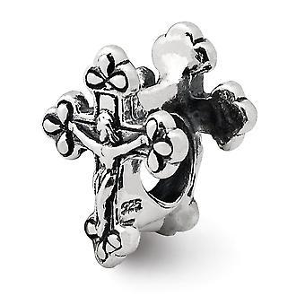 925 Sterling Silber poliert Finish Reflexionen Kruzifix Perle Anhänger Anhänger Halskette Schmuck Geschenke für Frauen