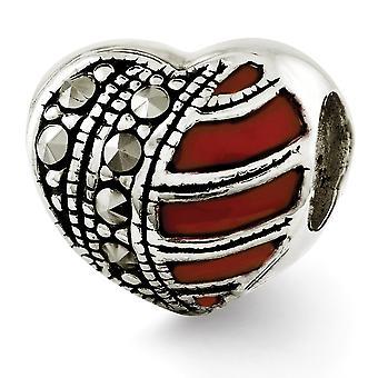 925 Sterling Silber antike Finish Reflexionen Marcasite und emaillierte Herz Perle Charme