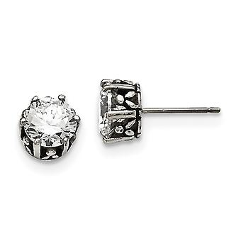Acero Inoxidable Redondo CZ Cubic Zirconia Simulado Diamante Post Pendientes Joyería Regalos para Mujeres