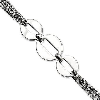 Stainless Steel Polished Circles 7.75inch Toggle Bracelet Jewelry Gifts for Women