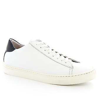 Leonardo Shoes Men's handmade lace-ups sneakers shoes in white calf leather