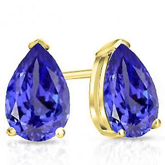 Dazzlingrock Collection 14K 7X5 MM Pear Tanzanite Ladies Solitaire Stud Earrings, Yellow Gold