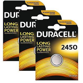 3 x Duracell CR2450 3V Lithium Coin Cell Battery 2450 DL2450 K2450L