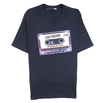 Love Moschino Cassette impresión Logo camiseta negro