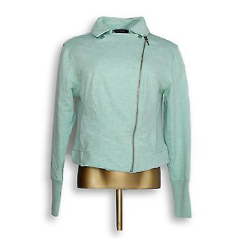 H de Halston Women's Chaqueta Francesa Terry Chaqueta Verde A285191
