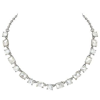 Eternal Collection Glitzy Clear Crystal Silver Tone Necklace
