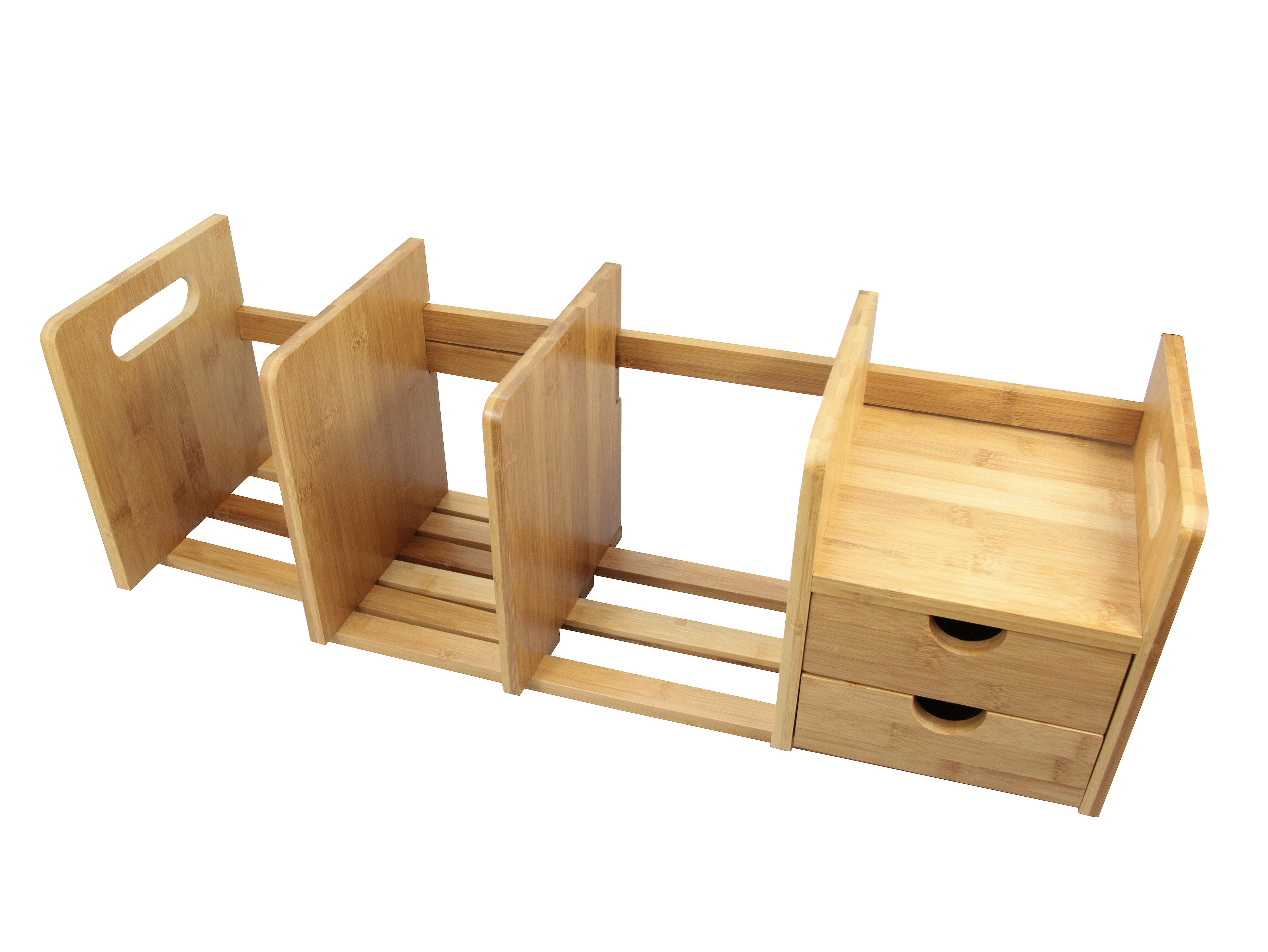 Woodquail Bamboo Desktop Expandable Adjustable Bookshelf with Drawers Desk Tidy Organiser