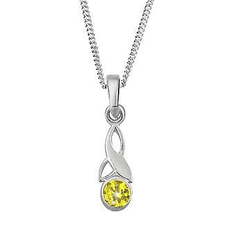 Celtic Holy Trinity Knot Birthstone Necklace Pendant - A Topaz Stone - Includes A 18