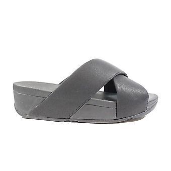 FitFlop Lulu skimmer Slide svart läder damer slip på mule sandaler
